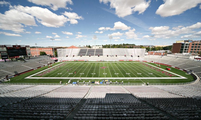 Clear skies in Palouse, WA at Washington State's Martin Stadium