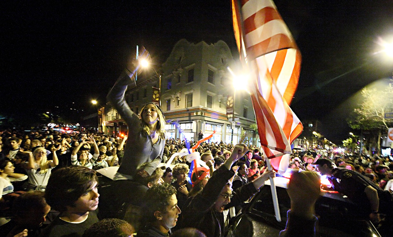 Election night crowd - girl and flag