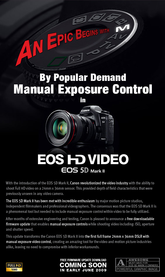 Canon newsletter announcing a firmware update providing manual controls